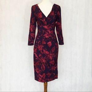 LAUREN Ralph Lauren Floral Side Ruched Dress
